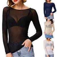 Fashion Women Transparent Mesh Sheer Tops Long Sleeve T-Shirt Blouse Tee Tops