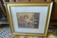Cherubs Angel Wall Picture 14.5 X 16.5 Wood Frame Glass Prof Matted Guercino