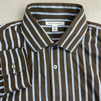 Banana Republic Dress Shirt Mens 16 Brown Blue Long Sleeve 100% Cotton Striped