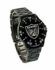 NFL SPORTS WATCH (OAKLAND RAIDERS) NEW QUARTZ CASUAL BLACK STAINLESS STEEL