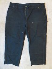 CARHARTT Dungaree PANTS 40x30/28 Black Double Front Knee Original Fit B136 BLK
