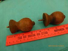 2 Vintage oak or maple or Mahogony finials wood wooden  bag #(200)