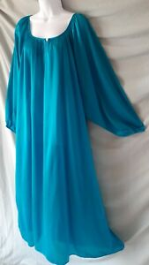 """COMFORT CHOICE Green Nightgown Ankle Long Sleeve LIGHTWEIGHT  Plus 4X  72"""" BUST"""