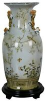 "Vintage Speer Collectibles Porcelain Floral Chinoiserie Mantel Vase & Base 16"""