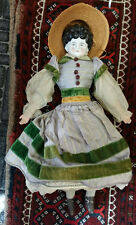 """EARLY 17"""" CHINA HEAD DOLL WITH HOOP SKIRT LEATHER SHOES LACE PANTALOONS"""