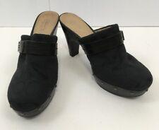 Coach Ivy Signature Black Monogram Mule Clogs Shoes Heels Womens Size 8B $168