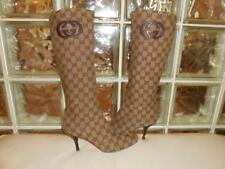 Gucci Ebony Beige Monogram GG Leather Mid-Calf Heel Boot Size 7 B