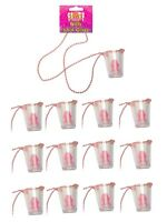 12 WILLY SHOT GLASS GLASSES PINK HEN PARTY NIGHT DO ACCESSORIES NECKLACE NEON