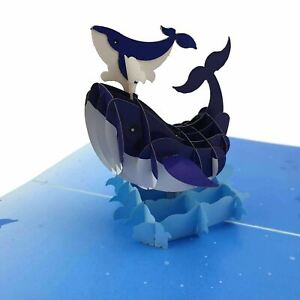 Blue Whale Family 3d pop up greeting card