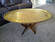 Antique Persian Arabic Hammered Engraved Brass Table Top Wall Hanging Tray 38x26