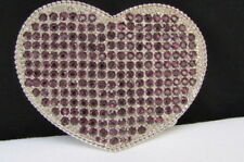 New Women Western Silver Metal Belt Buckle Love Heart Shape Purple Bling Big