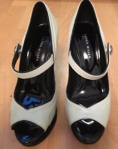 Karen Millen Cream Leather Platform peep High stilettos Shoes uk 5.5 Eu 38