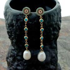White Rice Pearl Blue Crystal Chain Earrings