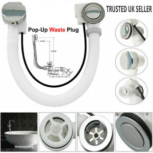Concealed Bath Overflow Waste Pop-Up Plug & Plastic Pipe and Twist Chrome Handle