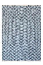 Tapis bleu pour la maison en 100% laine, 160 cm x 230 cm