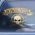 Bowhunter crossbones decal - deer elk bowhunting bow hunters skull badge sticker