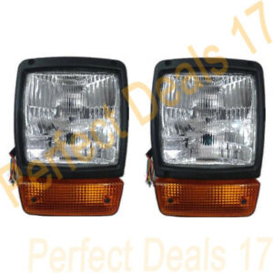 JCB BACKHOE DUMPERS FRONT HEADLIGHT PAIR WITH H4 BULB & INDICATOR ASSEMBLY