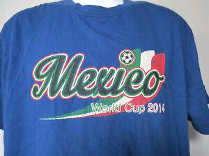 BLUE WORLD CUP MEXICO 2014 TEE SHIRT Men's Soccer Futbol