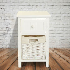 Blanc Armoire de Chevet Villa Vintage Commode de Chevet Table de Chevet Shabby