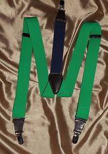 USA NWOT Clip on Green Suspenders Braces Black Leather Brass Fittings Irish