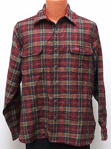 vtg Izod Lacoste CHERRY TARTAN WOOL Shirt LARGE 80s/90s Wood Buttons green plaid