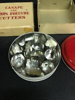 Vintage Canape and Hors D'oeuvre Mini Metal Cutters w/Tin  & Box- Made in Japan