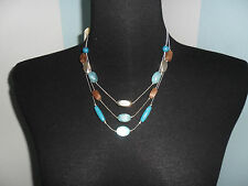 MINICCI SILVER PLATED CERAMIC 3 LAIRS-BEADS/NECKLACE/CHAIN 20""