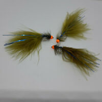 3 X Olive Blue Dancers Lures Wet Trout Flies Sizes 8,10 Fishing Flies