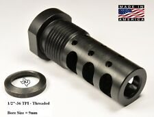 "1/2""-36 9mm Multi Function 9mm Competition Muzzle Brake THREAD ADAPTER 13/16-16"