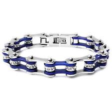 Bracelet - Timing Chain w/Crystals - Silver/Blue - Slim * We Ship WORLDWIDE!