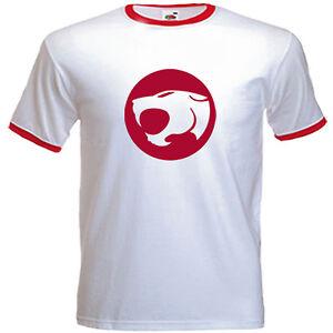 Men's Thundercats Retro Logo Inspired T shirt, White With Red Trim,