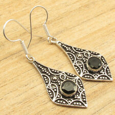 Facetted Black Onyx Earrings 1.9 Inch Personal Style ! 925 Silver Plated Round