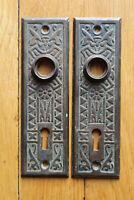 2 Doorknob Back Plate Corbin Antique Victorian Eastlake Skeleton Key Hole