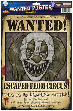 Scary Evil Clown Wanted Posters Halloween Decoration Prop NEW