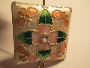 9 Designer Cloisonne 21x21 White Flower Beads Prong Set Crystal Center   06W