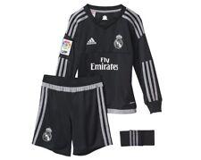 adidas Real Madrid CF 2015-2016 Junior Goalkeeper Strip Long Sleeved Top Bottom Black 92 Cm