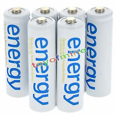 6x AAA 3A 2000mAh 1.2V Ni-Mh Energy Rechargeable Battery White Cell for RC MP3