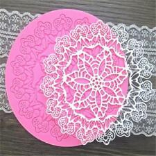 Round Lace Flower Pattern Embossing Silicone Mat Cake Decorating Mold SS