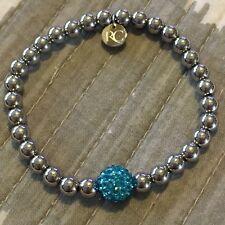 Rustic Cuff NEW IRELAND Turquoise shamballa Bead W Silver Stainless Steel Beads
