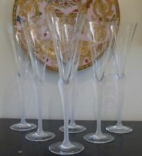 """SASAKI CRYSTAL AEGEAN FROSTED STEM CHAMPAGNE GLASSES 10.5"""" H SET OF 6"""