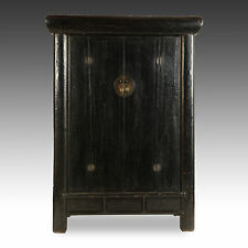 ANTIQUE CHINESE QING DYNASTY SHANXI BLACK LACQUER A-FRAME ROUND CORNER CABINET