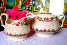 Booths Wild Rose Creamer and Covered Sugar Bowl c.1940s Cream Jug and Sugar Bowl