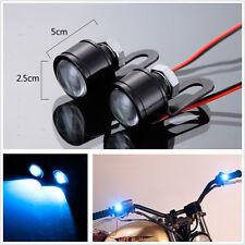 2 Pcs DC12V Ice Blue LED Spotlight Motorcycle Handlebar Rearmirror Headlight DRL