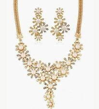 GOLD TONE CREAM FUAX PEARL DROP DAISY DIAMANTE CRYSTAL NECKLACE EARRING SET
