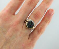 9ct Yellow Gold Mystic Topaz & Diamond Cocktail Ring  - Size N