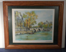 Serigraph signed Pierre Cambier 178/350 Paris France art watercolor Framed Glass