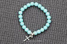 Bracciale Croce Turchese Blu Donna Uomo Perline estensibile 16cm