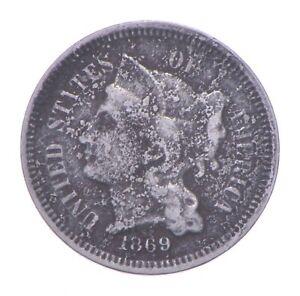 ***3***THREE***Cent*** 1869 - 3 Cent Piece Copper Nickel - Neat *261