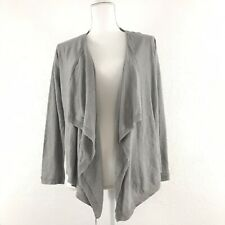 Garnet Hill Medium Cardigan Sweater Linen Open Front Drape Back Tie Gray Career