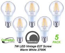 5 x DIMMABLE LED 7W Vintage Edison Clear Filament Light Globes / Bulbs E27 A60